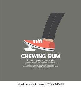 Foot Stuck Into Chewing Gum On Street Vector Illustration