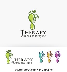 Foot Therapy, spa, body care, massage, nature, leaf. Vector logo template