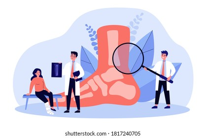 Foot or toe trauma concept. Podiatry doctor giving X ray to patient with plaster on ankle. Vector illustration for podiatrist, physiotherapist, feet disease treatment, surgery topics