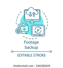 Footage backup concept icon. Data storage idea thin line illustration. Media backup software. Video files copying, synchronization. Footage archiving. Vector isolated outline drawing. Editable stroke