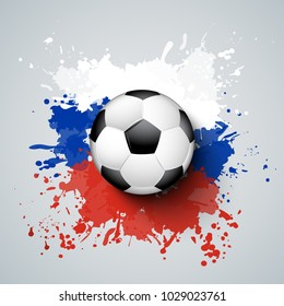 Football 2018 world championship with ball and Russia flag colors. Splash of colors.