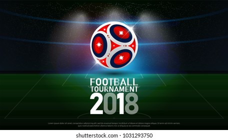 football 2018 world championship cup soccer broadcast graphic template. vector illustration