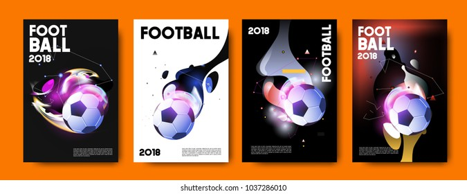 Football 2018 world championship cup background soccer. Vector colorful glow poster set background in eps 10.