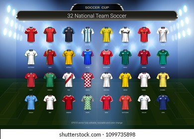Football 2018 World championship cup, National team soccer jersey uniforms group set, Sport T-Shirt MockUp for your presentation match score or game results of tournament in Russian (Vector Eps10)