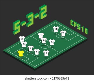 Football  5-3-2 formation with isometric field. Soccer popular  strategy concept. Vector championship tactics template.
