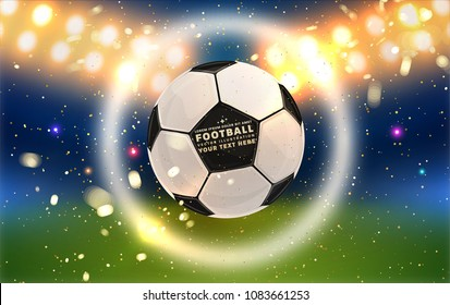 Football abstract design template for soccer covers, sport placards, posters and flyers with ball, trendy geometric elements and patterns. Vector illustration.