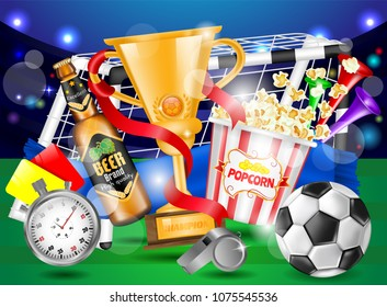 Football Ad Poster, Yellow and Red Card, Popcorn, Cup, Beer Bottle, Vuvuzela, Stopwatch, Whistle, Design Ads Template, Promotion Banner, Soccer Concept, Hand Drawn Vector Photo Realistic 3D Illustration