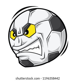 Football with angry face, cartoon vector illustration.