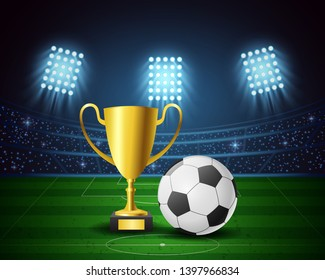 Football arena with bright light stadium design and award trophy. vector illustration