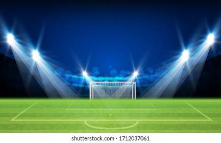 Football arena field with bright lights vector design Vector illumination