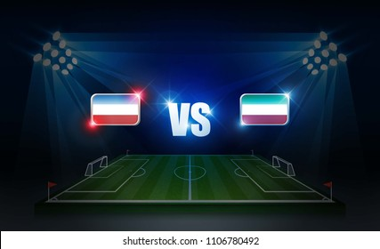 Football arena field with bright stadium lights. soccer score board match vs strategy broadcast graphic template. Vector illumination