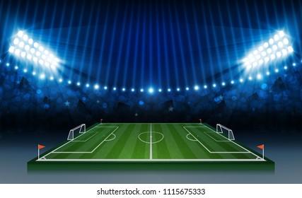 Football arena field with bright stadium lights. soccer match vs strategy. Vector illumination