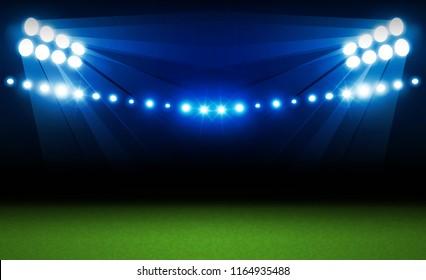 Football arena field with bright stadium lights vector design and information scoreboard. Vector illumination