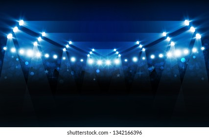 Football arena field with bright stadium lights vector design