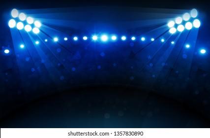 Football arena field with bright stadium lights vector design Vector illumination