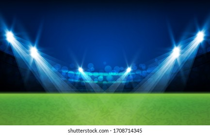 Football arena field with bright stadium lights vector design Vector illumination