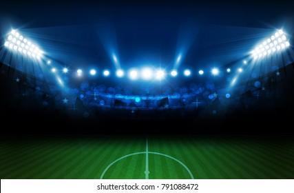 Football arena field with bright stadium lights design. Vector illumination