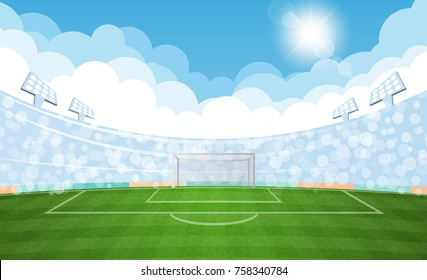 Football arena field with lights sun daytime vector design. Vector illumination