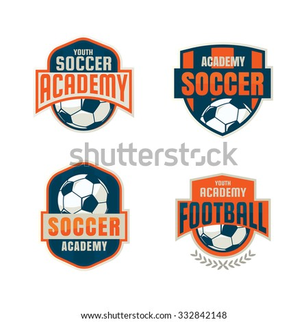 football badge logo template collection designsoccer のベクター画像