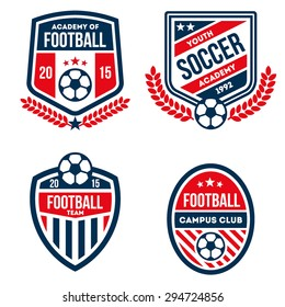 football badge set in red and blue