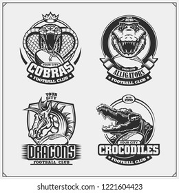 Football badges, labels and design elements. Sport club emblems with cobra, crocodile and dragon.