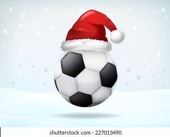 football ball covered with Santa cap vector illustration
