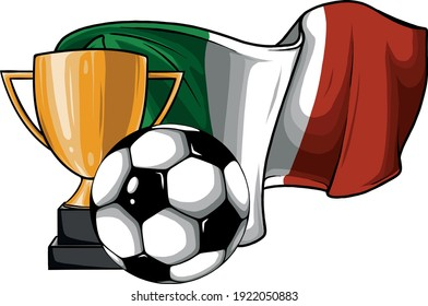 football ball with cup and italina flag vector