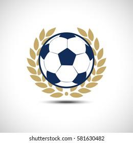 Football ball Gold Wreath Vector icon. Soccer ball Icon.