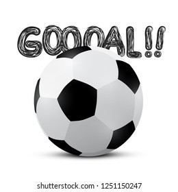 Football Ball with Goooal!! Title. Vector Soccer Bal and Goal Symbol.