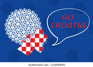 Football Ball Haircut Colored Inverted Woman Profile Screaming or Shouting Go Croatia Lettering - Red and White on Blue Soccer Ball Texture Background - Vector Hand Drawn Graphic Design