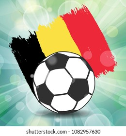 football ball icon with Belgian flag from brush strokes in grunge style on flash rays green background