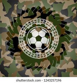 football ball icon inside camouflaged emblem