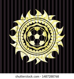 football ball icon inside golden emblem or badge