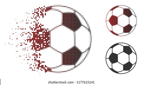 Football ball icon in sparkle, dotted halftone and undamaged solid versions. Particles are organized into vector disappearing football ball figure.
