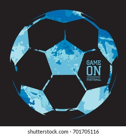 Football ball illustration, tee shirt graphics, vectors, game on typography