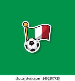 football ball with italy flag - label or sticker in cartoon style.vector illustration. isolated on green background. Italian football concept.