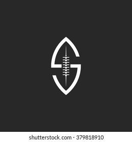 Football ball logo S letter shaped, creative idea rugby sport team emblem template