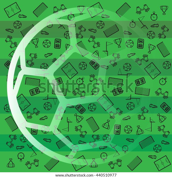 A football ball on green background with black icons. Soccer background for poster, card, web. Vector.