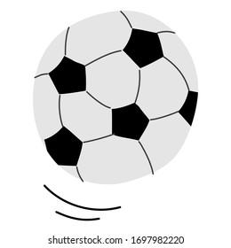 Football ball soccer ball vector template illustration. Doodle style, hand-drawn. Sport equipment. Flat.
