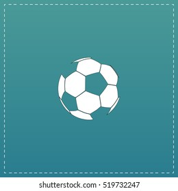 Football ball - soccer. White flat icon with black stroke on blue background