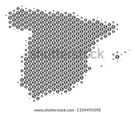 Football Map Of Spain.Football Ball Spain Map Vector Geographic Stock Vector Royalty Free