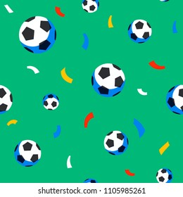 Football balls and confetti seamless pattern. Sport championship. Soccer players with football ball. Full color background in flat style. Russian football cup. Vector illustration