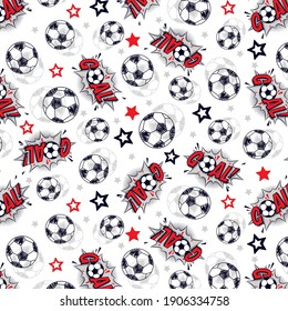 football balls,goals with stars pattern for textile
