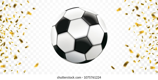 Football banner with golden confetti on the checked background. Eps 10 vector file.