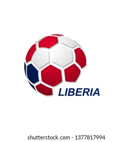 Football banner. Vector illustration of abstract soccer ball with Liberia national flag colors