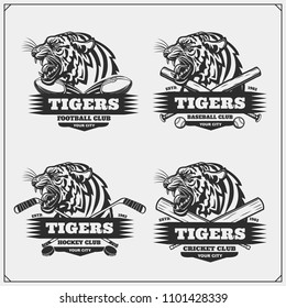 Football, baseball, cricket and hockey logos and labels. Sport club emblems with tiger. Print design for t-shirt.