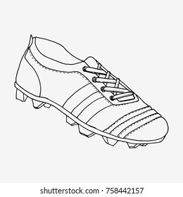 8a6abb7c6 Football boots, soccer shoes. Hand drawn vector illustartion. Black and  white drawing