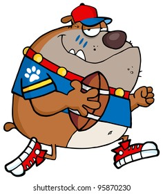 Football Brown Bulldog Running With The Ball.Vector Illustration
