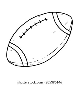 football / cartoon vector and illustration, black and white, hand drawn, sketch style, isolated on white background.