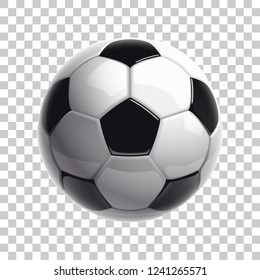 Football championship 3D logo Design banner. Illustration banner with logo Realistic soccer ball Isolated on transparent Checkered background. black and white classic stadium leather football ball